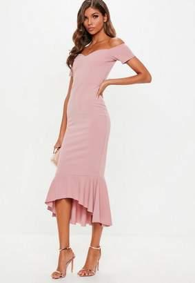 Missguided Rose Pink Bardot Fishtail Hem Midi Dress