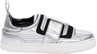 Paco Rabanne Crackled Metallic Leather Sneakers