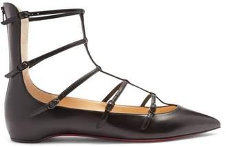 Christian Louboutin Toerless Muse Leather Flats - Womens - Black