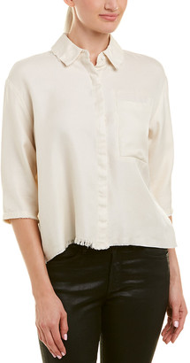 Drifter Boxy Silk & Wool-Blend Buttondown Top