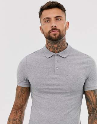 Asos Design DESIGN muscle fit jersey polo in grey marl