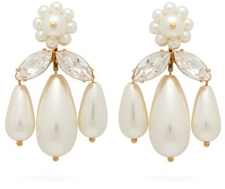 Simone Rocha Crystal And Faux Pearl Drop Earrings - Womens - Pearl