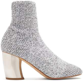 Curved-heel knit ankle boots