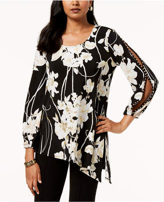 JM Collection Embellished Split-Sleeve Tunic