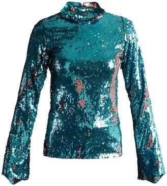 HALPERN Sequin-embellished high-neck top