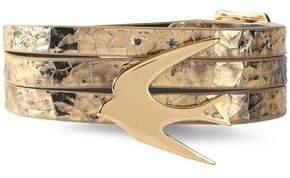 McQ Gold-Tone Metallic Cracked-Leather Bracelet