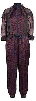 Sacai Women's Satin Ruffled Leopard-Print Jumpsuit