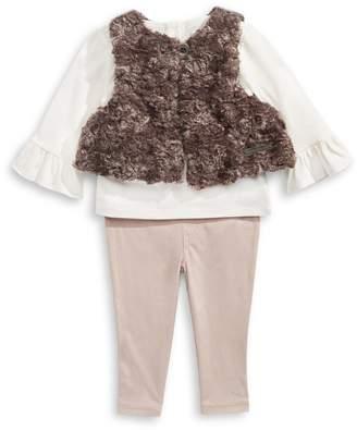 Calvin Klein 3-Piece Faux Fur Vest, Shirt and Pants Set