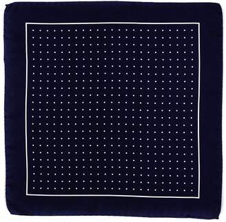Black Navy and White Polka Dot Italian Silk Pocket Square