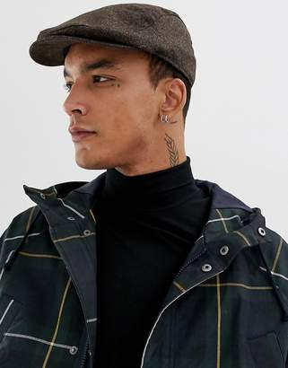 Asos Design DESIGN flat cap in brown herringbone texture