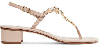 Musa Crystal-embellished Leather Sandals - Blush