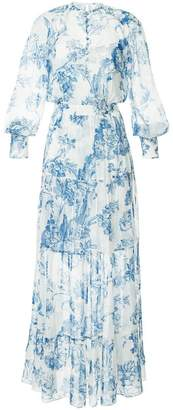 Oscar de la Renta floral toile pintuck tiered dress