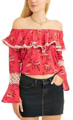 Self Esteem Juniors' Floral Printed Crochet Bell Sleeve Off the Shoulder Blouse