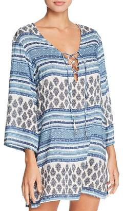 J Valdi Topanga Three-Quarter Sleeve Tunic Swim Cover-Up