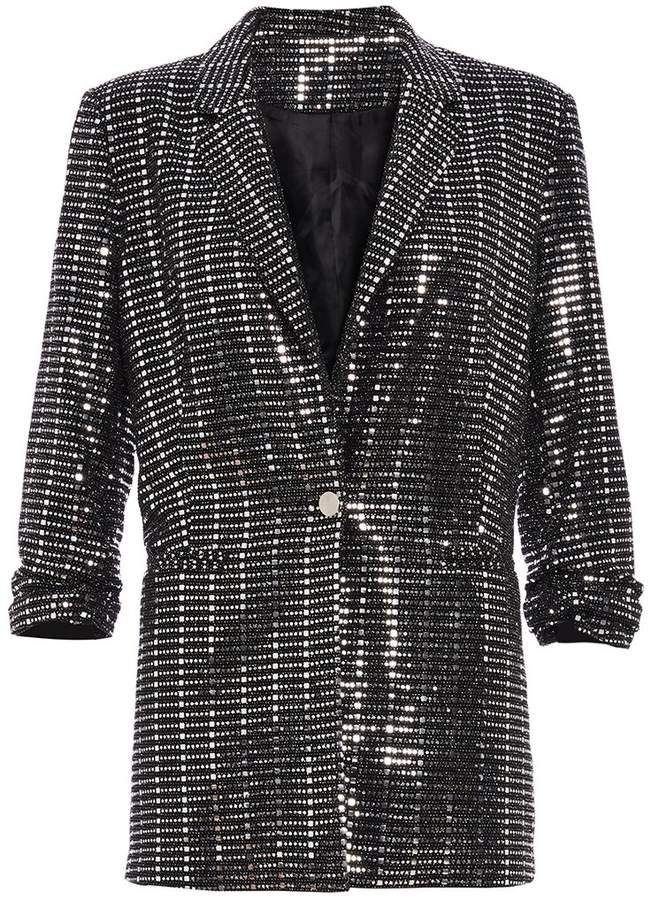 TOWIE Black and Silver Sequin Suit Jacket