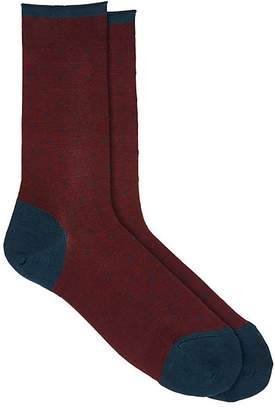 Barneys New York Men's Dotted Cotton-Blend Mid-Calf Socks $45 thestylecure.com
