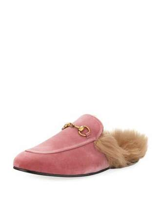 Gucci Princetown Velvet Fur-Lined Slipper, Pink $850 thestylecure.com