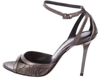 Burberry Metallic Ankle-Strap Sandals