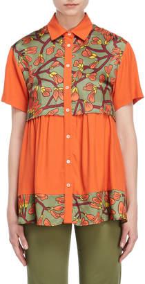 I'M Isola Marras Printed Panel Shirred Shirt