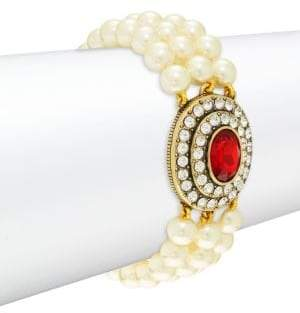 Heidi Daus Faux Pearl Oval Center Bracelet
