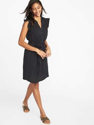 Old Navy Ruffle-Trim Tie-Belt Shirt Dress for Women