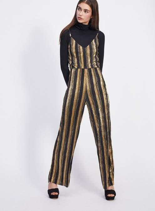 Petite gold stripe plisse jumpsuit