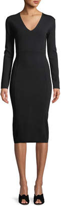 Veronica Beard Williams V-Neck Long-Sleeve Midi Dress