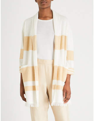 St. John Striped cashmere and silk-blend cardigan