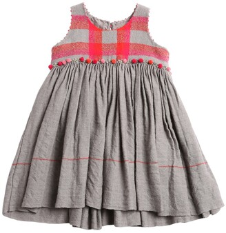 Pompom Wool Check & Flannel Dress