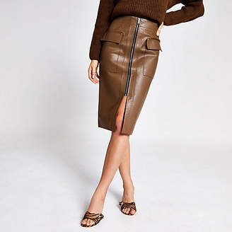 River Island Brown faux leather utility pencil skirt