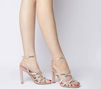 Office Hourglass Embellished Strappy Sandals Nude