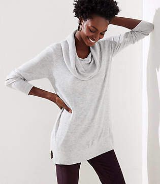 LOFT Petite Cowl Neck Tunic Sweater
