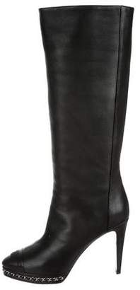 Chanel Leather CC Knee-High Boots