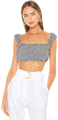 Solid & Striped Cropped Puff Sleeve Blouse