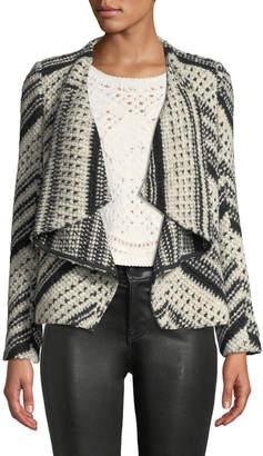 BA&SH Ilda Stripe Knit Open-Front Blazer Jacket