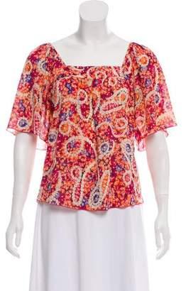 Trina Turk Silk Floral Print Top
