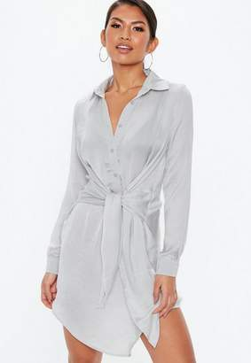 Missguided Gray Tie Waist Shirt Dress