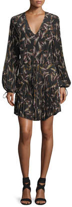 A.L.C. Rory V-Neck Long-Sleeve Silk Printed Dress