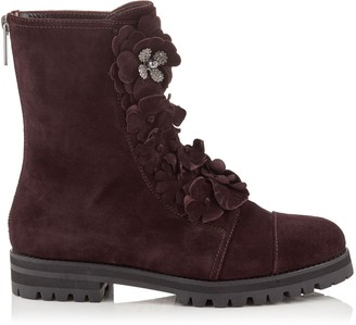 Jimmy Choo HAVANA FLAT Burgundy Suede Combat Boots with Floral Applique