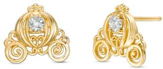 Zales Child's Disney Twinkle Cinderella Diamond Accent Carriage Stud Earrings in 14K Gold