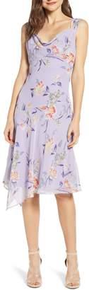 Leith Floral Asymmetrical Cowl Neck Dress