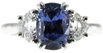 Platinum with 0.83ct Diamond and 3.07ct Violet Blue Purple Sapphire Ring Size 6.5