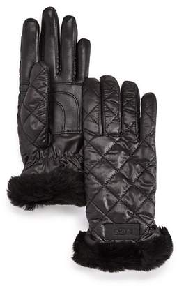UGG Quilted Shearling-Cuff Tech Gloves
