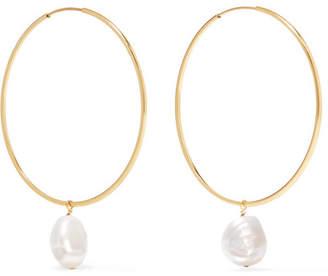 Lee Grace 14-karat Gold Pearl Hoop Earrings