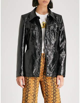 ALEXACHUNG Pocket-detail cracked PVC jacket
