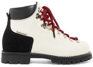 Proenza Schouler Two-tone Textured-leather And Suede Ankle Boots - White