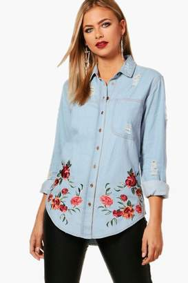 boohoo Oversized Distressed Embroidered Denim Shirt