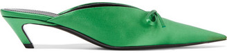 Balenciaga - Bow-embellished Satin Mules - Green $665 thestylecure.com