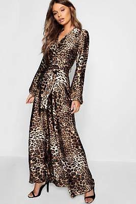 boohoo NEW Womens Leopard Print Satin Maxi Dress in Polyester
