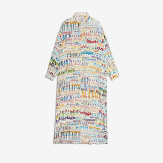 Balenciaga Mixed Typo Shirt Dress in white and yellow printed silk crepe